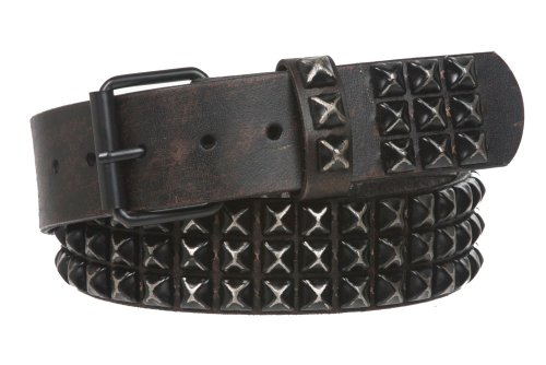 Black Studded Leather - Snap On 1 3/4
