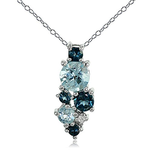 Ice Gems Sterling Silver London Blue, Blue and White Topaz Cluster Tonal Drop Necklace