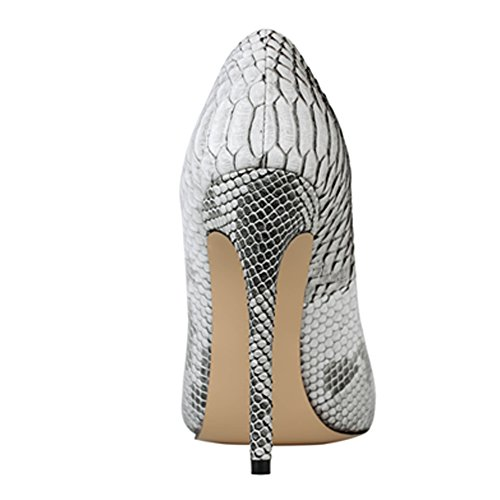 EKS - Zapatos de Tacón Mujer Grau-Snakeskin