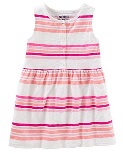 Osh Kosh Girls' Kids Short-Sleeve Knit Tunic, Pink Stripe, 10