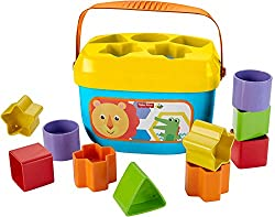 Open a bucket of fun for yourlittle onewith Baby's First Blocks. These chunky, colorful blocks help introduce colors and shapes asbabies sort, stack and drop the blocks through the slots in the bucket lid. Empty the bucket to start the fun over ag...