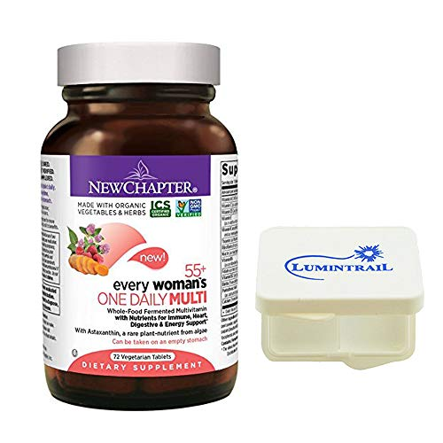 New Chapter Multivitamin for Women 50 Plus, Every Woman's One Daily 55+ with Fermented Probiotics + Whole Foods + Astaxanthin - 72 ct Bundle with a Lumintrail Pill Case