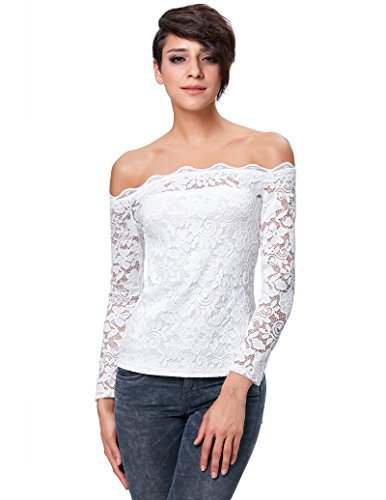 Women's Sexy Off Shoulder Lace Floral Long Sleeve Blouse Tops Ivory (XL) (Life At The Top Shirt)