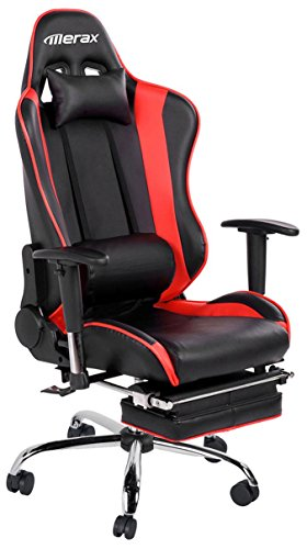 Merax Ergonomic Series Pu Leather Office Chair Racing Chair with Footrest Computer Gaming Chair, Recliner, Swivel, Tilt, Rocker and Seat Height Adjustment ()