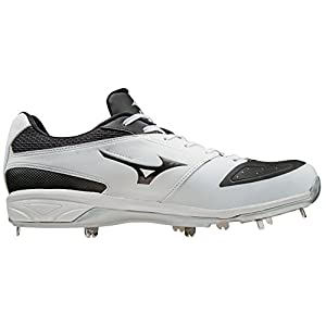 Mizuno Dominant IC Adult Men's Low Cut Metal Baseball Cleats - White & Black (Men's Size 10)