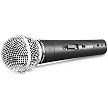 Pyle-Pro Professional Moving Coil Dynamic Cardioid Unidirectional Vocal Handheld Microphone with ON/OFF Switch Includes 15ft XLR Audio Cable to 1/4'' Audio Connection (PDMIC59)