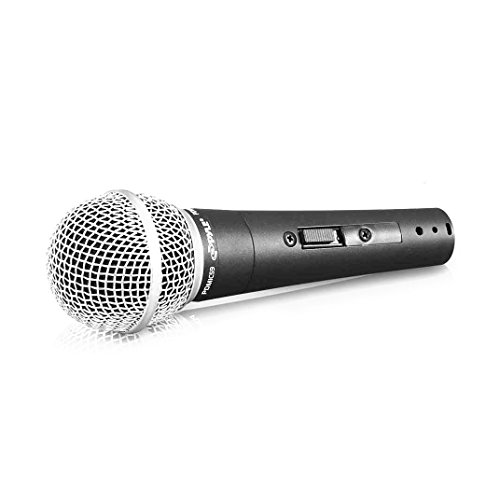 Professional Dynamic Vocal Microphone - Moving Coil Dynamic Cardioid Unidirectional Handheld Microphone with ON/OFF Switch Includes 15ft XLR Audio Cable to 1/4'' Audio Connection - Pyle PDMIC59