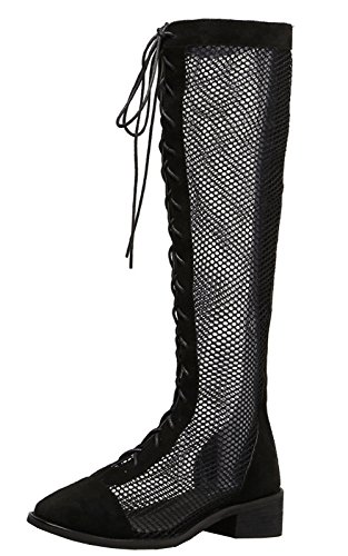 - WAROFT Women's Lace Knee High Heel Boots Breathable Mesh Hollow Out Summer Boots Sandals Black 4 B(M) US