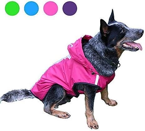 perro mediano perro grande impermeable de dos patas 1910CWL0175 TUYU Chubasquero para mascotas con sombrero impermeable para cachorro de perro al aire libre chaqueta de poli/éster