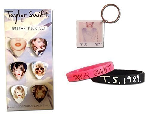 Taylor Swift 1989 World Tour Ultimate Fan Gift Package, (Photo Collector's Guitar Picks, Black Rubber Bracelet, Pink Rubber Bracelet, and Album Photo Keychain) by Taylor Swift (Image #1)