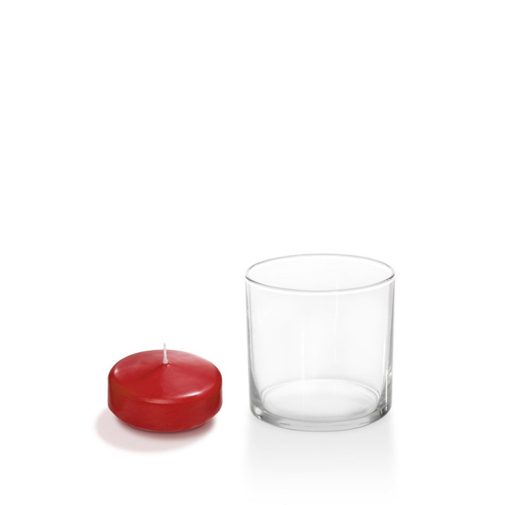 Yummi 2.25'' Ruby Red Floating Candles and Glass Cylinder Holders, Set of 36