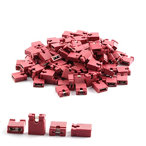 ZYAMY 30PCS 2.54mm Jumper Caps Circuit Board Shunts Short Circuit Connection Pin Blocks Red