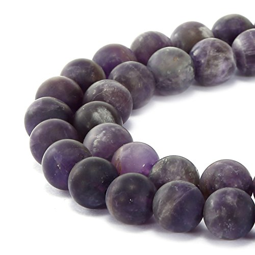 BRCbeads Gorgeous Natural Teeth Amethyst Gemstone Smooth Matte Round Loose Beads 8mm Approxi 15.5 inch 45pcs 1 Strand per Bag for Jewelry Making