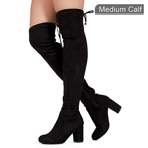 Women's Over The Knee Block Chunky Heel Stretch Boots Black SU ()
