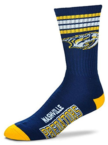 For Bare Feet NHL 4 Stripe Deuce Crew Men Socks-Nashville Predators-Large (10-13)