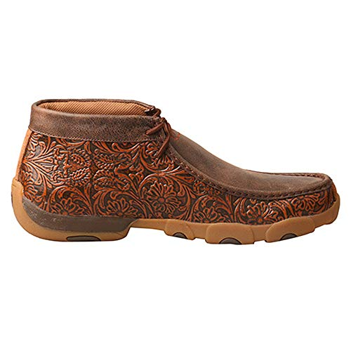 Moccasins X Driving Copper Sole Men's Lace Twisted up Rubber Toe Tooled Moc Brown Leather vd4qwU