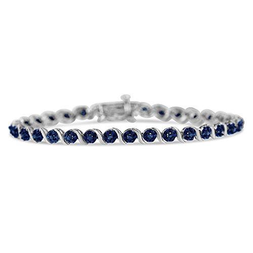 Original Classics Sterling Silver Rose Cut Diamond Spiral Link Bracelet (1 cttw, Blue Color, I1-I2 ()