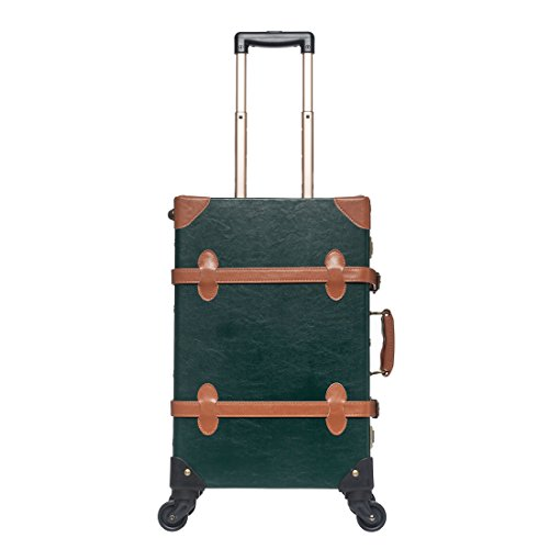 UNIWALKER Dark Green Pu Leather Luggage Carry On Suitcase Vintage Trunk with Wheels (20