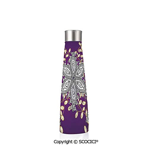 (Double Wall Stainless Steel Travel Mug Insulated 17.5 oz / 500ml Mauve Decor Vintage Oriental Display With Moroccan Middle East Floral Petals With Details,Purple Grey)