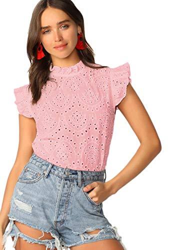 Romwe Women's Sleeveless Ruffle Stand Collar Embroidery Button Slim Cotton Blouse Top Pink XS