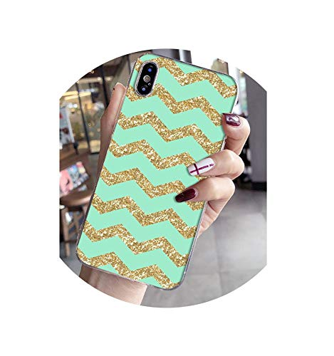(tthappy76 Silver Green Stripe Glitter Cool Coque Shell Phone Case for iPhone X Xs Max 6 6S 7 7Plus 8 8Plus Xr,A14,for iPhone Xr)