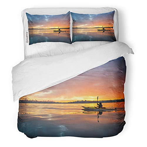 Emvency Bedding Duvet Cover Set King Size (1 Duvet Cover + 2 Pillowcase) Beautiful Winter Sunrise Water Man Ocean Kayak Going Towards Vancouver Downtown Bc Hotel Quality Wrinkle and Stain Resistant]()