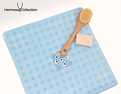 Hermosa Collection Square Shower Mats Latex Allergen Free & Anti Bacterial & Anti-Slip (21'' x 21'', Blue) by Hermosa Collection