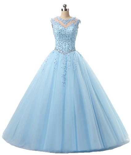 Ball Gown Evening Prom Dress Beading Sequined Quinceanera Dresses Long 2018 H152 10 Sky Blue (Sequined Long Gown)