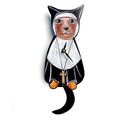 Sister Mary Meow (Nun Cat) Swinging-Tail Pendulum Wall Clock
