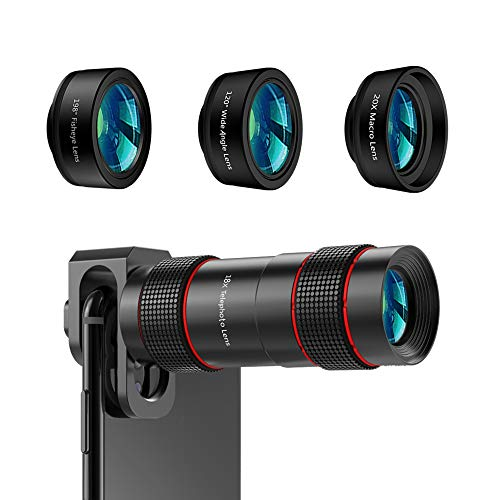 Phone Camera Lens - [Upgraded Version] AIKEGLOBAL iPhone Lens 4 in 1, 18X Zoom Telephoto Phone Lens, 120°Super Wide Angle Lens, 20x Macro Lens & 198°Fisheye Lens for iPhone X XS 8 Samsung & Andriod