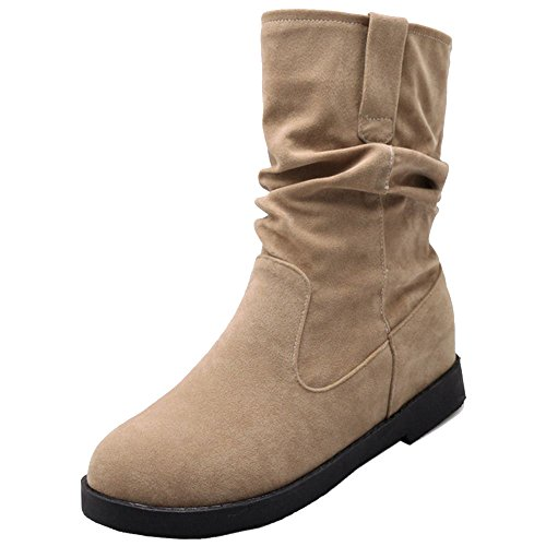 COOLCEPT Women Fashion Mid Heel Pull On Slouch Ankle High Boots Beige