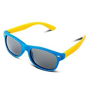 RIVBOS RBK004 Rubber Flexible Kids Polarized Sunglasses Age 3-10 (W Blue)