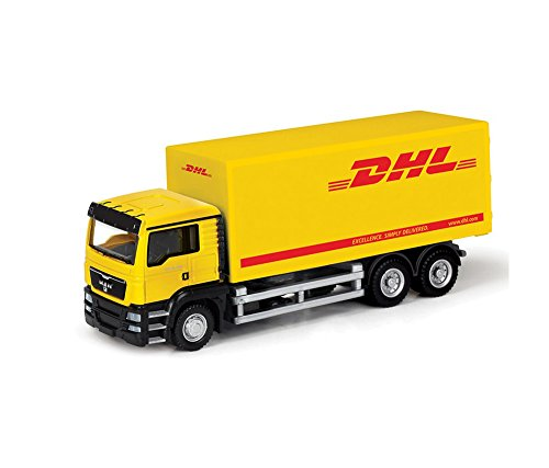 RMZ City Diecast 1:64 MAN DHL Container Truck Collection Model (Yellow) (L x W x H),14 x 6 x 4 (Die Cast Promotions 1 64 Scale Trucks)