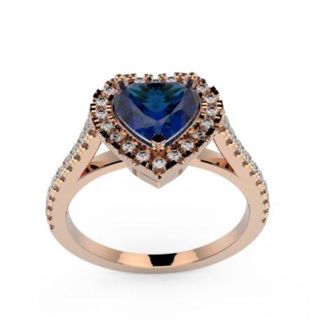 MELIA Bagues Or Rose 18 carats Saphir Bleu 0,6 Cur