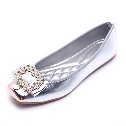 Carr¨¦e Plates Pengweisandales ¨¤ Taille T¨ºte Grande Silver La Chaussures Pois txSvqAS