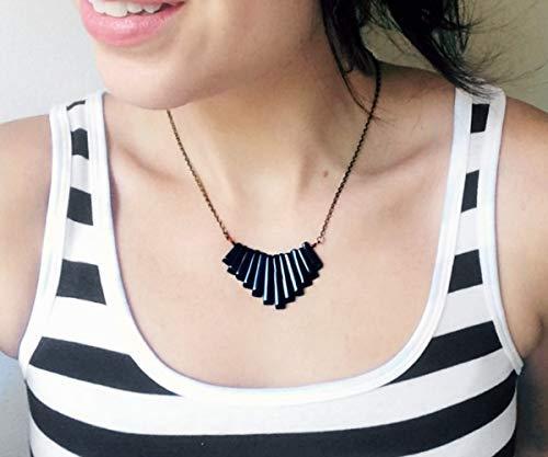 (Black Onyx Graduated Fan Mini Bib Necklace)