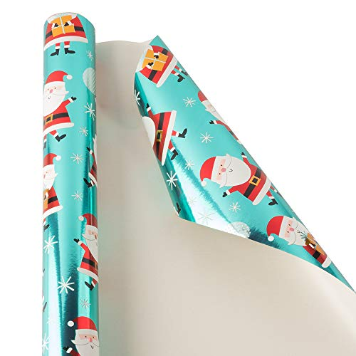 JAM PAPER Gift Wrap - Christmas Wrapping Paper - 25 Sq Ft - Teal Shine Santa - Roll Sold Individually -