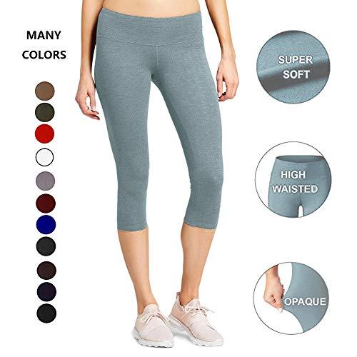 High Waisted Soft CapriLeggingsforWomen-Tummy Control-One/Plus Size 20+Design  (Lilac Gray, Plus Size (US 12-24))