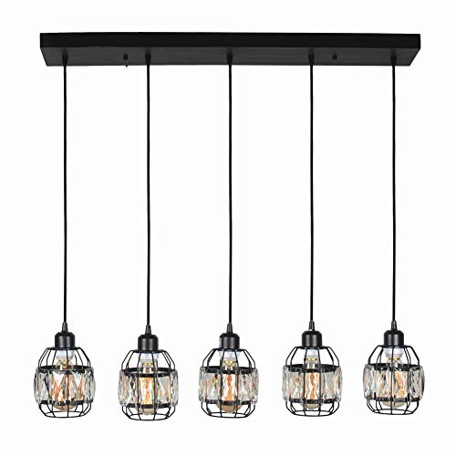 Baiwaiz Modern Crystal Cage Linear Chandelier Lighting, Metal and Wood Black Hanging Pendant Light for Kitchen Island Rustic Dining Room Pool Table Industrial Chandelier Light 5 Lights Edison E26 089 (Table Island Dining)