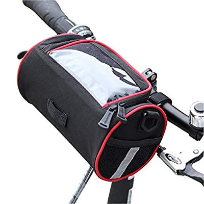TraderPlus Bicycle Cycling Map Sleeve Quick-Release Front Basket Frame Tube Handlebar Bag with Transparent PVC Pouch, Bike Pouch for Mountain, Road, MTB, Folding Bike