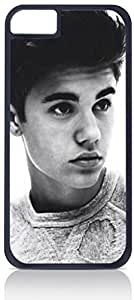 Justin Bieber-Black and White Photograph-Apple iPhone 5C Universal- Hard black plastic case with black soft rubber lining (double layer).