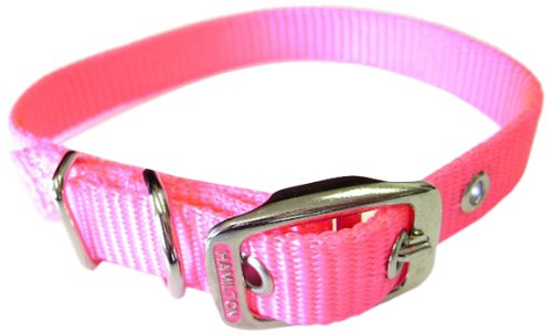 Hamilton 5/8-Inch by 16-Inch Single Thick Nylon Deluxe Dog Collar, Hot Pink