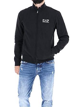 044ff42f9e917 EA7 Felpa Emporio Armani 7 EA 6ZPM55 Uomo Logo Nero Zip Giacca ...