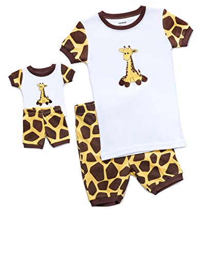 (Leveret Shorts Giraffe Matching Doll & Girl 2 Piece Pajama Set 100% Cotton (Size 4 Years))