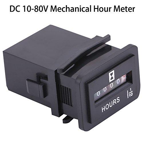 Hour Meter Gauge, DC 6-80V Mechanical Hour Meter Gauge for Diesel Gasoline Engine Generator Motor Boat (HM002)