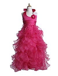 Fashion Plaza Girl's Satin Tulle Halter Communion Pageant Dress Flower K0054