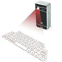 LAMASTON Bluetooth Virtual Keyboard, Mini Wireless Keyboard and Mouse Combo for Iphone Ipad Smartphone Tablet PC,Laptop
