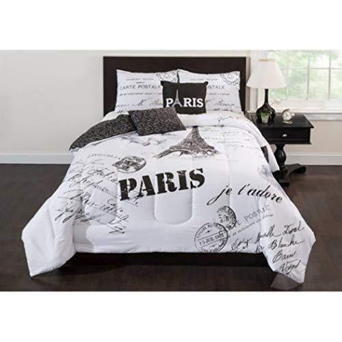 girls black white paris comforter
