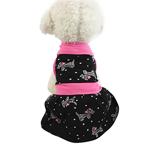 Little Princess Girls Dog Skirt Summer Clothes for Pet Puppy Tee Shirts Dogs Costumes Cat Tank Top Dresses (Pink, XS)