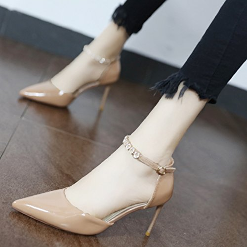 Xue Xue Xue Qiqi Pumps Fein mit high-heel Schuhe personalisierte Wasser bohren's tie Damen Schuhe stylisch bemalte Leder mit konischen Seiten leer Schuh geschlitzt 34 Beige 7cf507